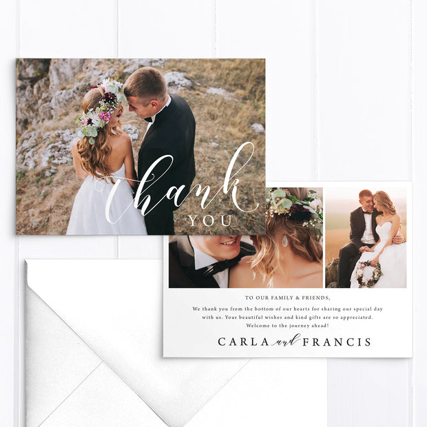 Modern wedding thank you card with three photos and modern calligraphy font