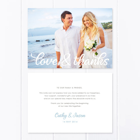 Modern wedding thank you photo card with modern calligraphy font