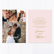 Photo wedding thank you card with three photos and personal printed message with traditional calligraphy font
