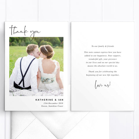 Modern minimal wedding thank you card with one photo and modern calligraphy font