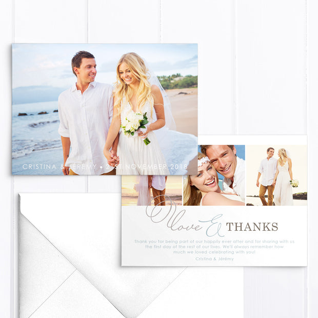 Modern wedding thank you photo card with four photos and modern calligraphy font