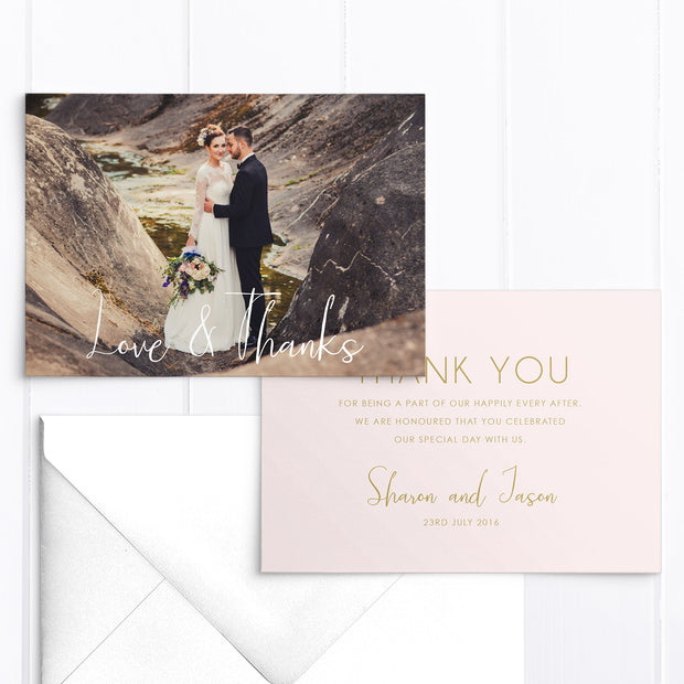 Modern wedding thank you photo card with one photo in blush pink and gold