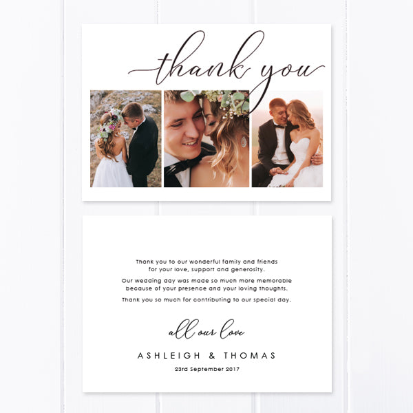Modern wedding thank you photo card with three photos and calligraphy