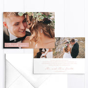 Modern wedding thank you photo card with three photos and handwritten script font