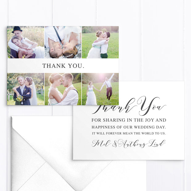 Modern wedding thank you photo card with six photos and calligraphy thank you message