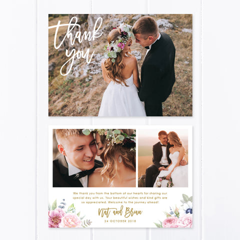 Wedding thank you photo card with three photos and beautiful corner florals with gold text