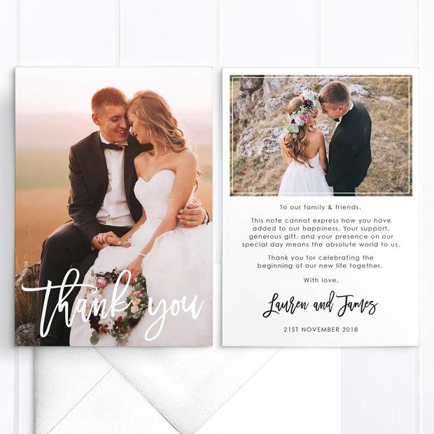 Modern wedding thank you cards with two photos, professionally printed or printable file