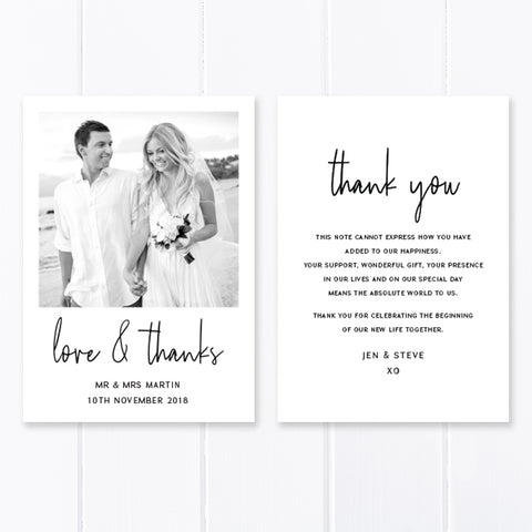 Modern wedding thank you photo card, Professionally printed in Australia