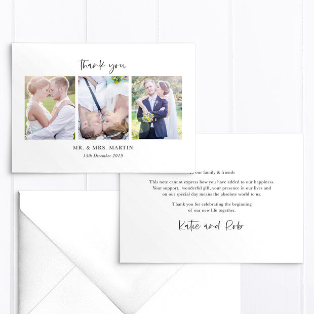 Photo wedding thank you card with three photos and personal printed message with modern handwritten font