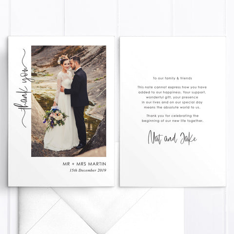 Photo wedding thank you card with personal printed message and modern handwritten font