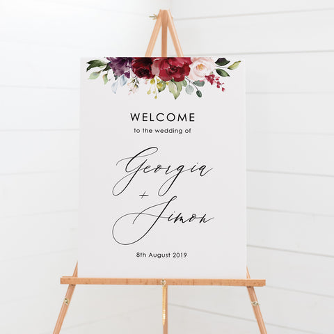 Wedding or event welcome sign board with stunning deep red watercolour flower arrangement with a beautiful calligraphy font.
