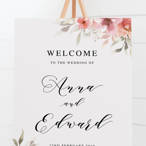 Wedding welcome sign board with beautiful watercolour florals and traditional script font