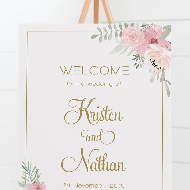Wedding welcome sign board, pink watercolour florals and leaves, gold text