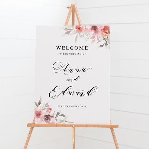 Wedding welcome sign board with beautiful watercolour florals and black script font