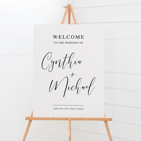Wedding welcome sign board, modern calligraphy, black and white