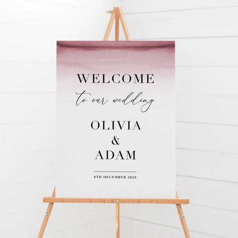 Modern wedding welcome sign with deep pink ombre and modern font styles