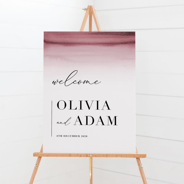 Wedding welcome sign with stunning deep pink watercolour ombre background and modern font styles