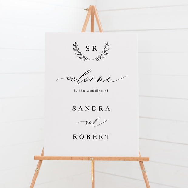 Wedding welcome sign board, black and white, calligraphy and monogram