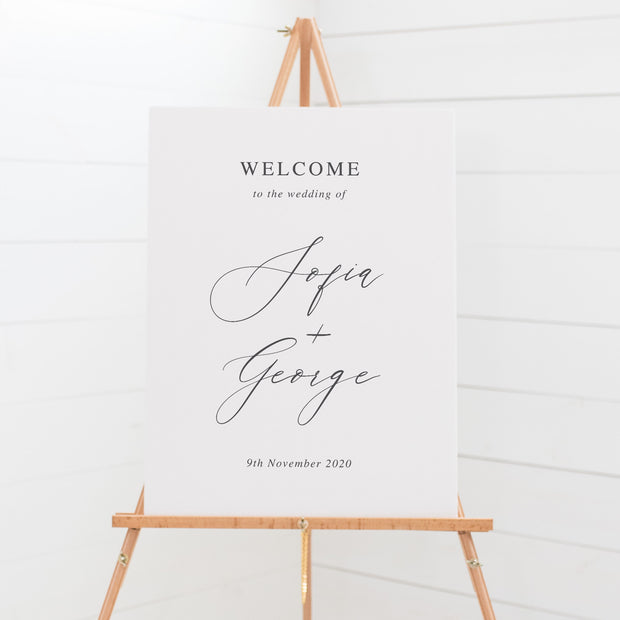 Wedding welcome sign board, hand drawn leaf, calligraphy font