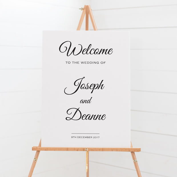Wedding welcome sign board, black and white, traditional calligraphy