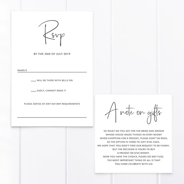 Minimal wedding RSVP card and wishing well gift card in charcoal grey with modern font styles