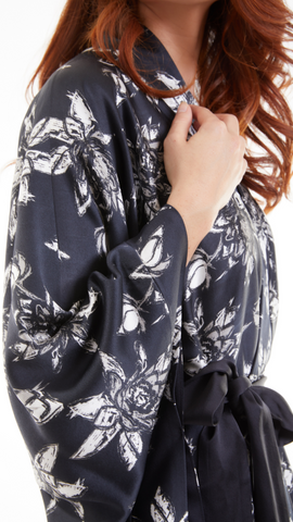 Ethical Kind Organic Peace Silk Kimono Gown Close Up