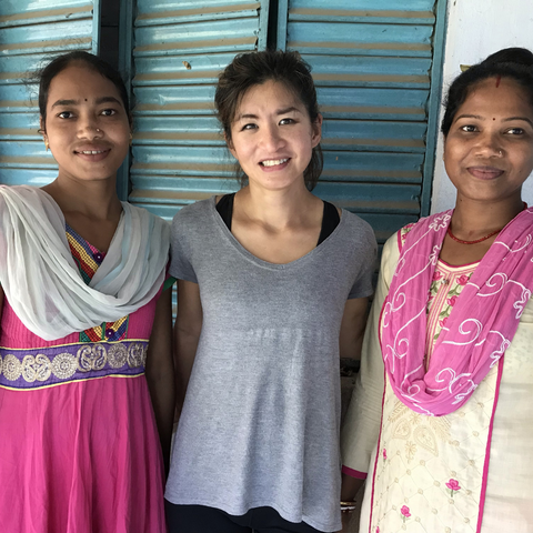Founder, Lily with Hira and trainee weaver