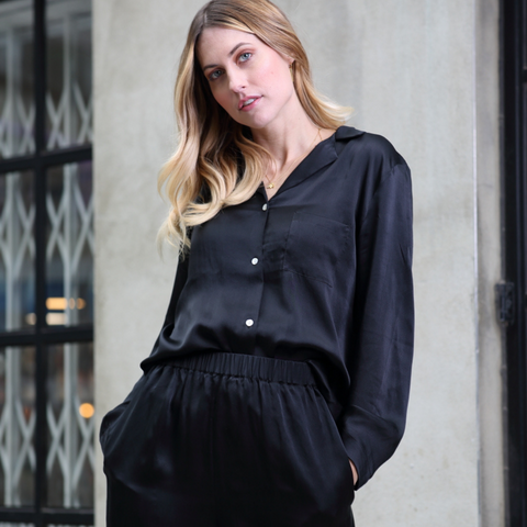 Ethical Kind Organic Peace Silk Black Pyjamas for Women Street trend