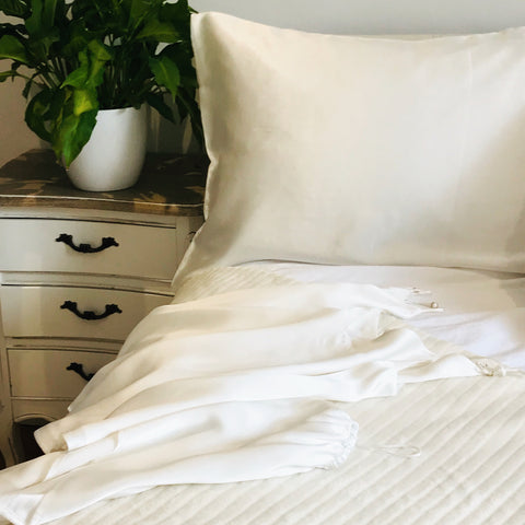 Sleep Sanctuary of a Bedroom with Peace Silk pillowcase and Camisole Set