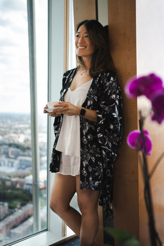 Ethical Kind with Sarah Highfield in Organic Peace Silk Camisole Set and Kimono Gown