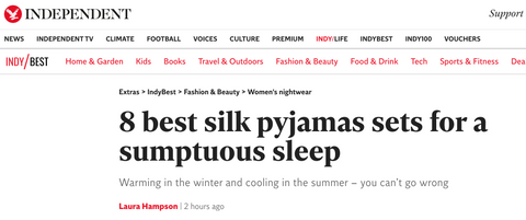 The Independent - 8 best silk pyjamas sets for a sumptuous sleep