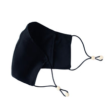 Load image into Gallery viewer, Ethical Kind Organic Peace Silk Face Mask with filter pockets, adjustable with eco-elastic cord and natural wood beads in black open side view