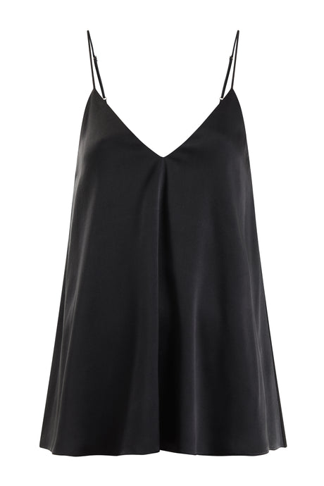 Organic Peace Silk Camisole Boho Style Top in Black