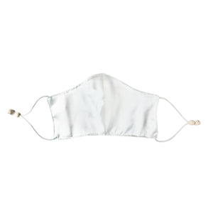 Ethical Kind Organic Peace Silk Face Mask Covering with filter pockets, adjustable with eco-elastic cord and natural wood beads