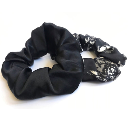 Ethical Kind Organic Peace Silk Hair Scrunchies, set of two, black and floral print