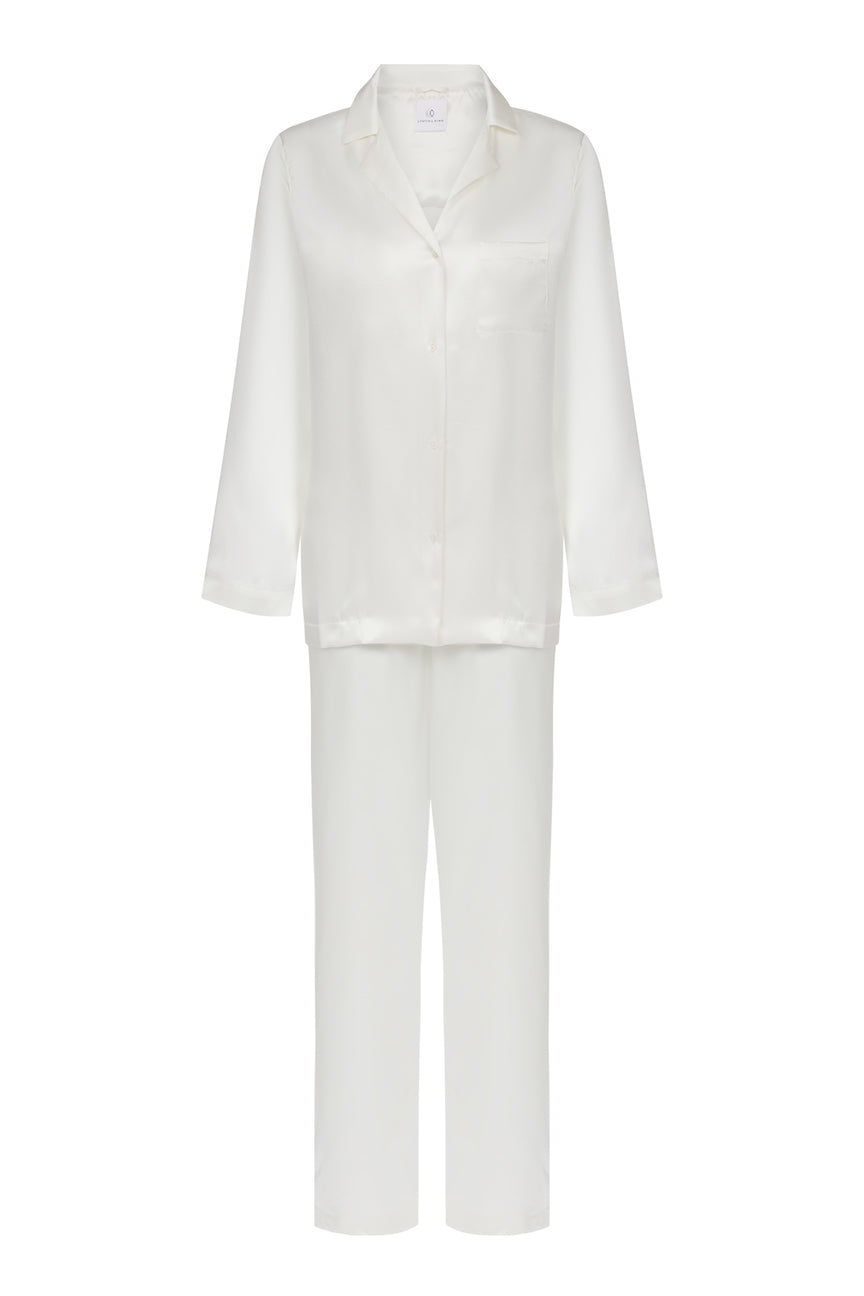Ethical Kind Organic Peace Silk Pyjamas in Ivory