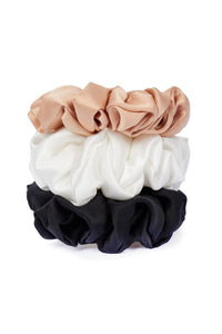Ethical Kind Organic Peace Silk Hair Scrunchies, Set of 3, hazelnut, Ivory and black
