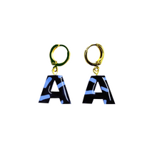 Load image into Gallery viewer, ALPHABET | A-Z Personalised Letter Earrings - Black/Sky