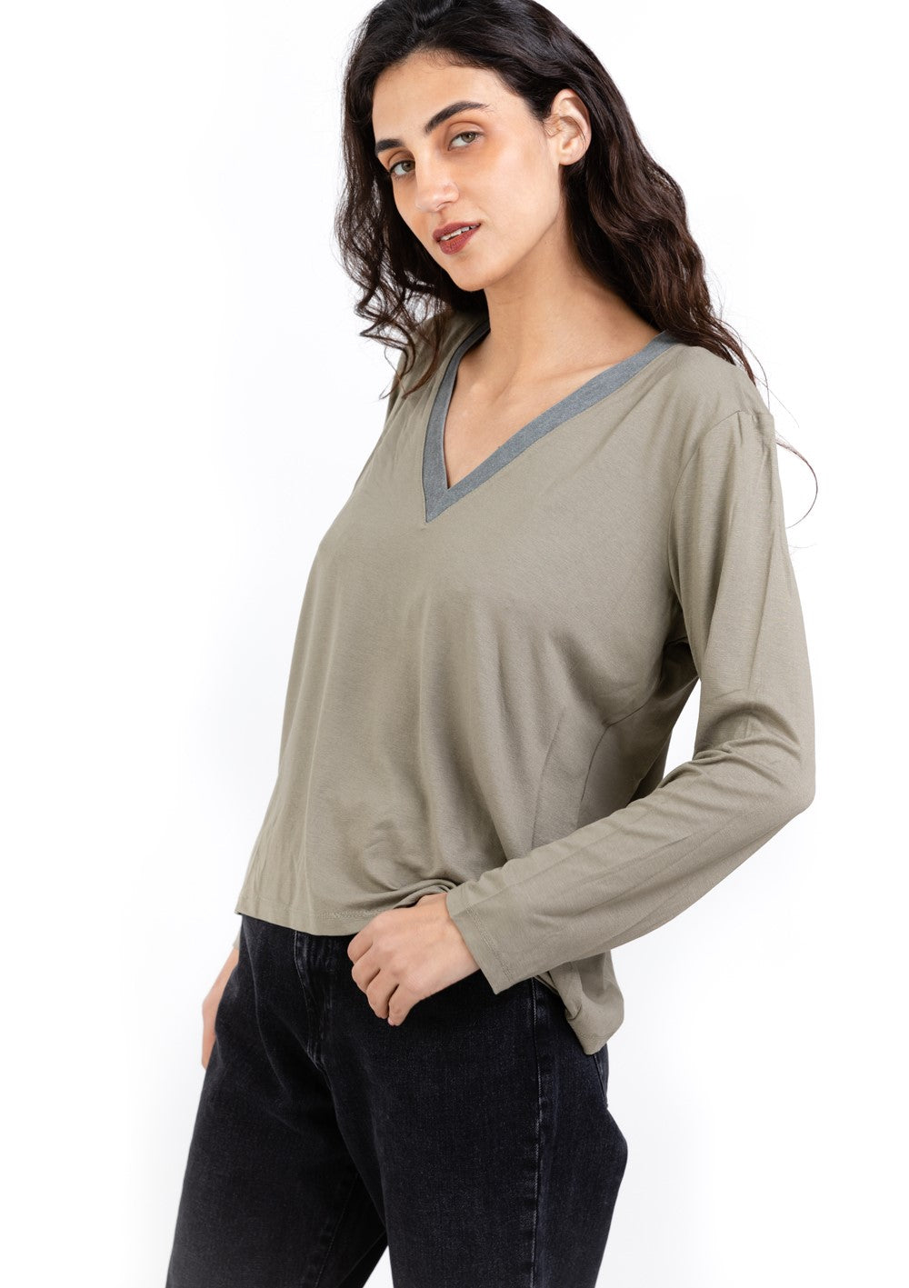 Elli light  green  V shirt