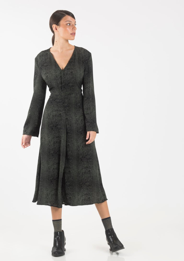 Green and black animal prin Lou dress