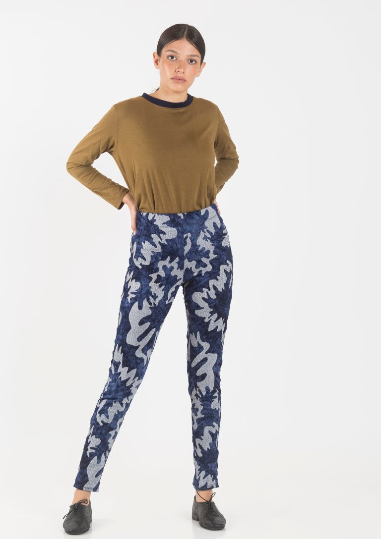 Blue printed Ann  high waist leggings