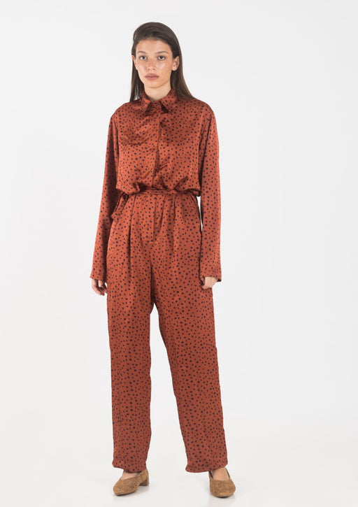 Brown printed jumpsuit