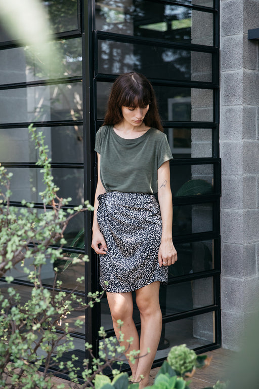 Nina black leopard wrap skirt
