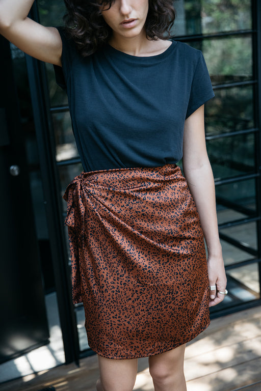 Nina  brown leopard wrap skirt