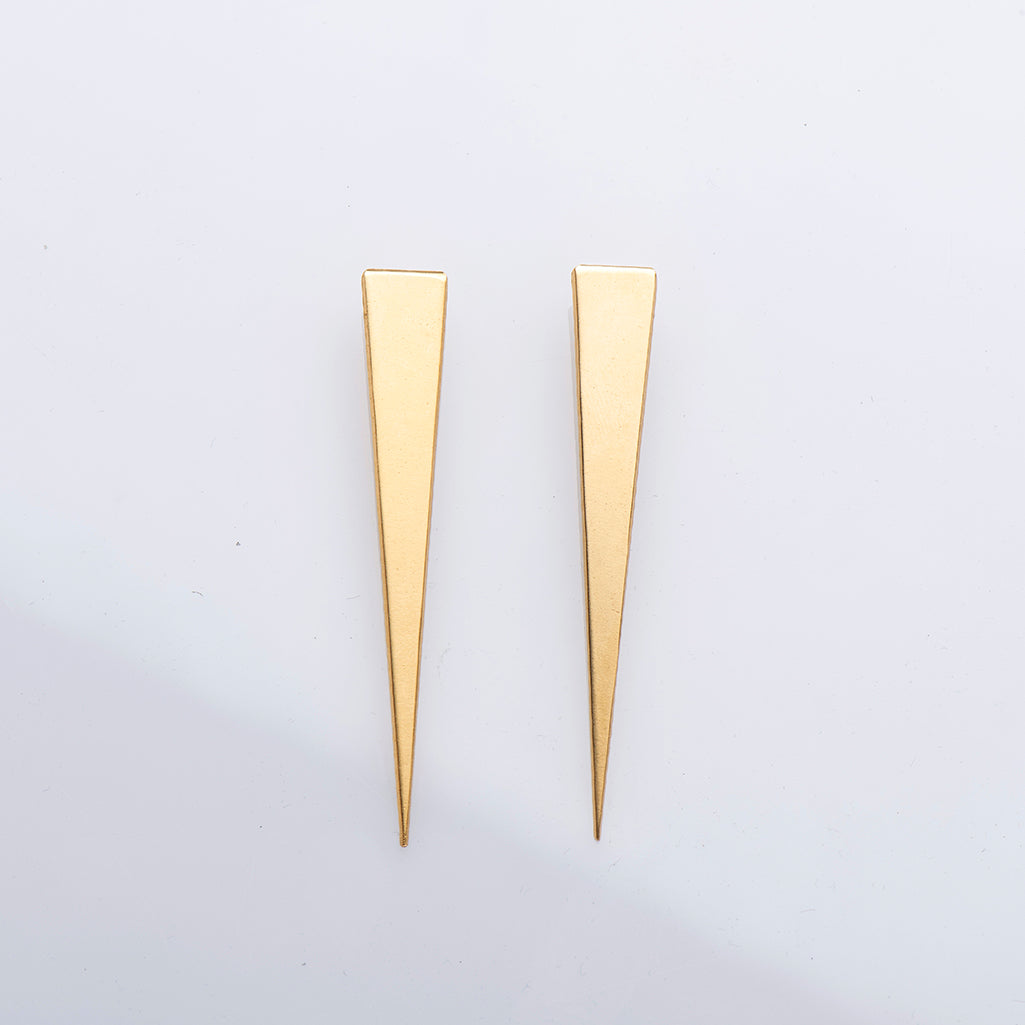 FEMI L – LONG GOLD-PLATED TRIANGLE EARRINGS