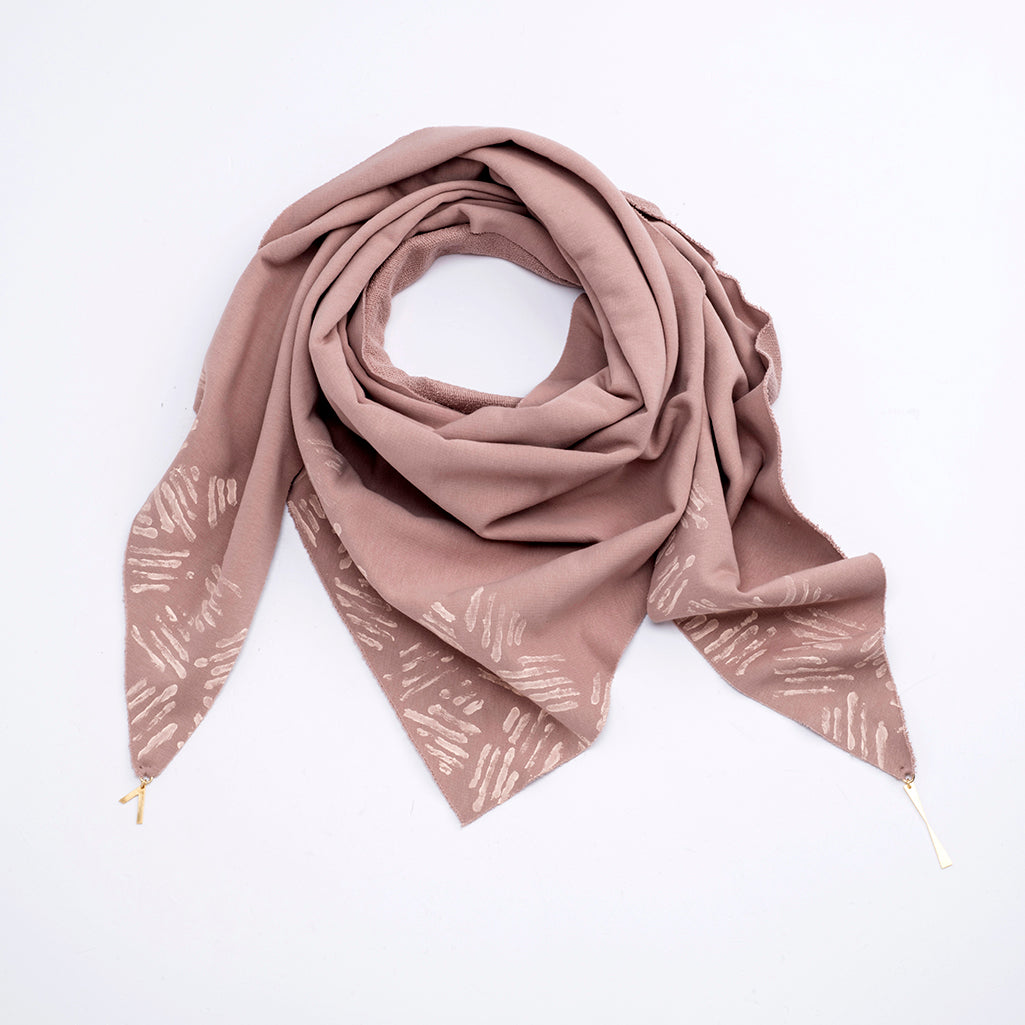 NALA – TRIANGULAR HANDPRINTED PINK SCARF WITH JEWELED EDGES/EFF
