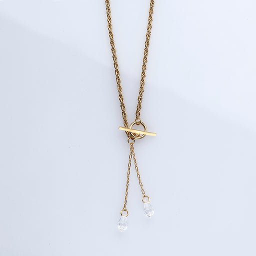 DROP – GOLD-PLATED NECKLACE WITH TRANSPARENT SWAROVSKI PENDANT/EFF