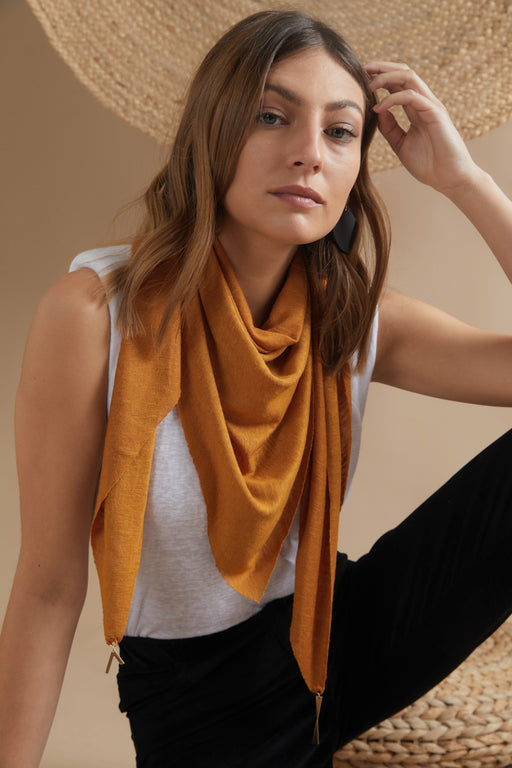 NALA – TRIANGLE SHAPED MUSTARD SCARF WITH JEWELED EDGES/EFF