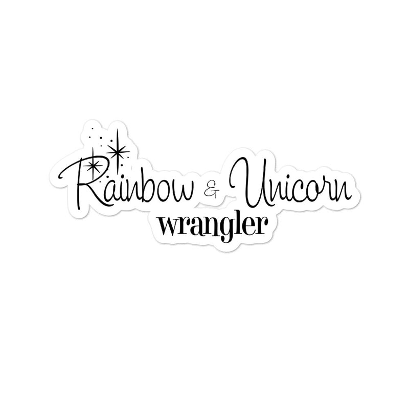 Rainbow & Unicorn Wrangler Vinyl Sticker - Let's Set the Stage