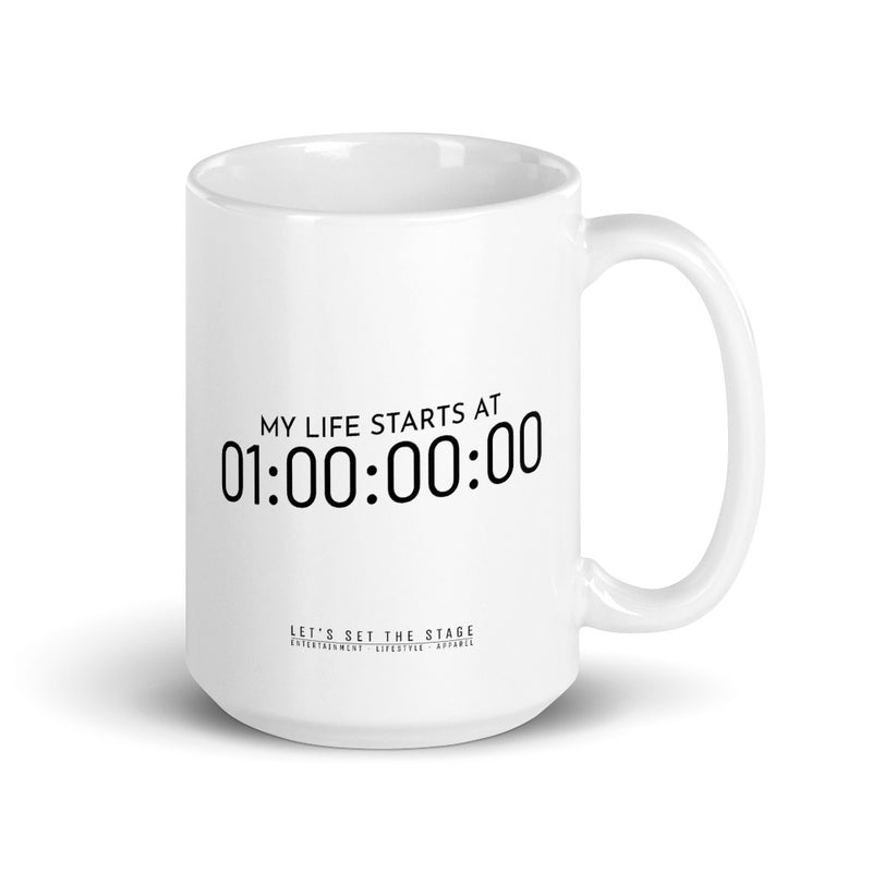 My Life Starts At One Hour Timecode Mug - Let's Set the Stage